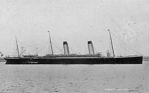 RMS Oceanic (1899) - Side profile of Oceanic from an old postcard
