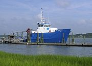 RV Savannah at its home dock at the Skidaway Institute of Oceanography.