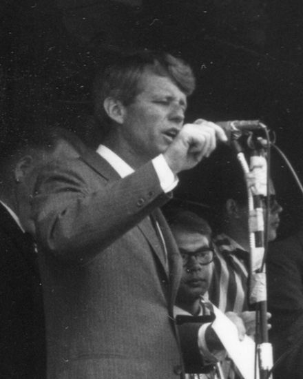 Tired but still intense in the last days before his Oregon defeat, Robert Kennedy speaks from the platform of a campaign train. RWRMay1968RFKspeaksm.jpg