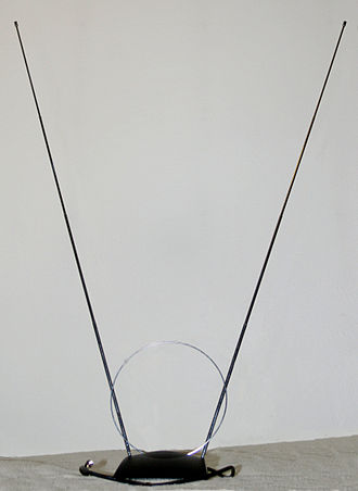 "Very high frequency - ""Rabbit-ears"" VHF television antenna (the small loop is a separate UHF antenna)."
