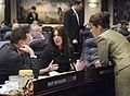 Rachel Burgin confers with Ellyn Bogdanoff and Ron Reagan.jpg
