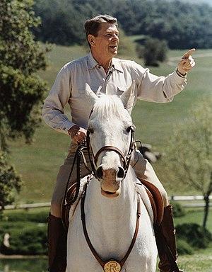 "Ronald Reagan rides his horse ""El Alamein..."