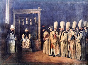 Mustafa III - Reception ceremony of the Conte de Saint Priest at the Ottoman Porte Antoine de Favray, 1767.