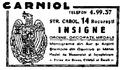 Reclama Gravor M.Carniol Fiul - 1932.png