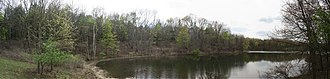 """Fort Custer Recreation Area - A view from """"The Peninsula"""" stretch of the red trail on Eagle Lake"""