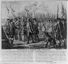 French engraving depicting the surrender of Lord Cornwallis, 19 October 1781 at Yorktown.