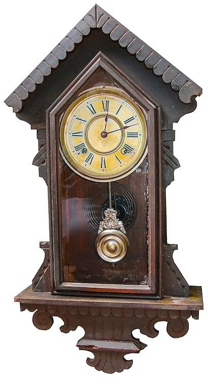 File reloj de pendulo ansonia c wikimedia commons for Relojes de pared antiguos de pendulo
