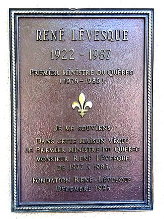 René Lévesque - Memorial plaque in Québec City