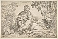 Rest on the flight into Egypt, Mary holding the infant Christ with St. Joseph at right MET DP815028.jpg