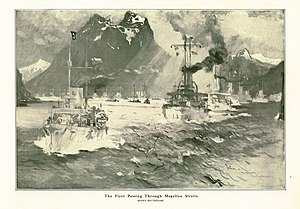 Great White Fleet - The Fleet Passing Through the Magellan Straits by naval artist Henry Reuterdahl, who traveled with the fleet on USS Culgoa