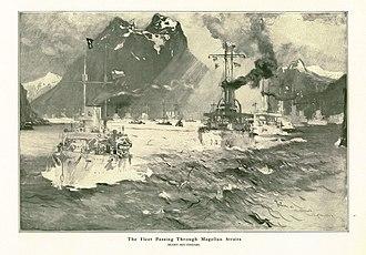 Great White Fleet - The Fleet Passing Through the Magellan Straits by naval artist Henry Reuterdahl, who traveled with the fleet on USS Culgoa