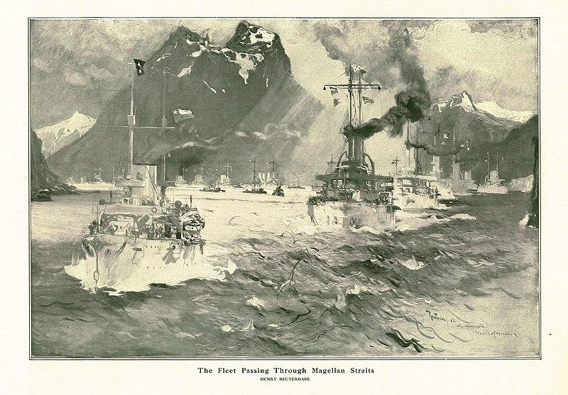 File:Reuterdahl Fleet Passing Through Magellan Straits.jpg