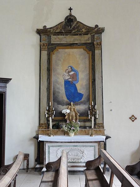 Rigny-Saint-Martin (Meuse) église intérieur autel Madonna et Enfant