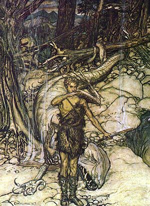 Siegfried (opera) - Siegfried tastes the dragon's blood (Rackham)