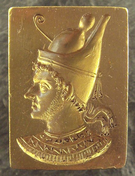 Ring of Ptolemy VI Philometor as Egyptian pharaoh. Louvre Museum. Ring with engraved portrait of Ptolemy VI Philometor (3rd-2nd century BCE) - 2009.jpg