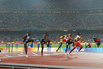 Dayron Robles - Robles leading the 110 meters hurdles final at the Beijing Olympics
