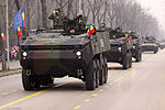 Romanian Piranha IIIC APCs during the Romanian National Day military parade.jpg