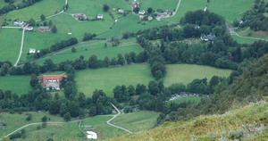 Barony Rosendal - The Manor with its garden to the right, the stud farm in red, as seen from Malmangernuten mountain