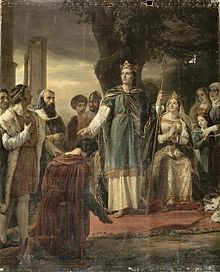 Peinture représentant un homme à genou devant un roi debout sous un arbre