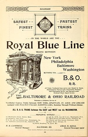 Royal Blue (train) - Advertisement in the January 1896 issue of McClure's Magazine.