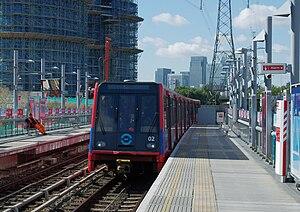 Docklands Light Railway - A DLR train arrives at Royal Victoria