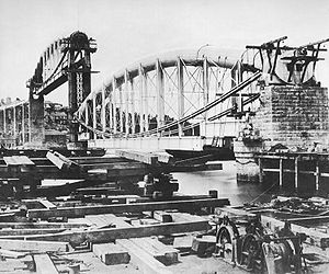 Cornish Main Line - The Royal Albert Bridge under construction in 1858