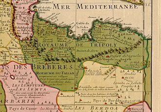 "Ottoman Tripolitania - The ""Kingdom of Tripoli"" (Royaume de Tripoly) is shown as including much of modern-day Libya, with the exception of Berdoa, on a map by  Guillaume Delisle (1707)."