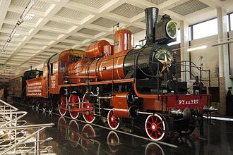 Transport in the Soviet Union -  Russian locomotive class U - U-127 Lenin's 4-6-0 oil burning compound locomotive preserved at the Museum of the Moscow Railway at Paveletsky Rail Terminal