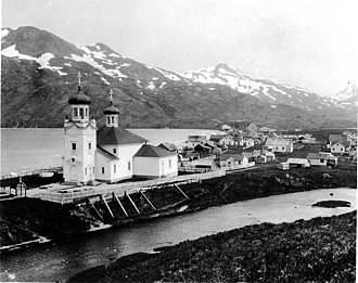 Unalaska, Alaska - Russian Orthodox church and town, June 1906