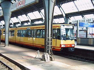 Karlsruhe Stadtbahn - A Karlsruhe Stadtbahn train in the Karlsruhe Hauptbahnhof.
