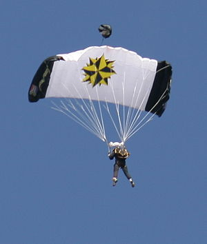 South African Special Forces - Member of the South African Special Forces performing a ceremonial parachute jump