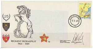 Regiment Bloemspruit - SADF Regiment Bloemspruit Commemorative letter