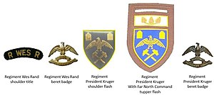 Regiment Paul Kruger - SADF era Regiments Wes Rand and President Kruger insignia