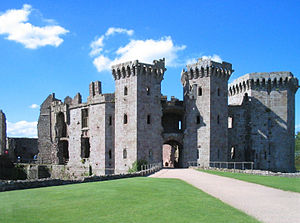 Raglan, Monmouthshire - Image: SDJ Raglan Castle Front