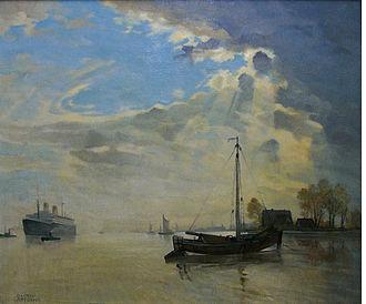 SS Bremen (1928) - SS Bremen near Bremerhaven 1933. Oil painting by Gustav Lüttgens.