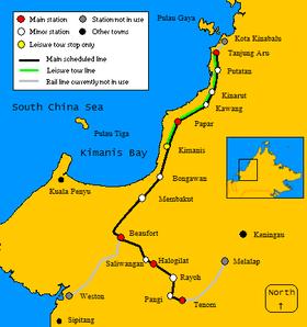 Sabah State Railway Streckenkarte
