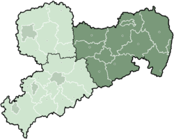 Map of Saxony highlighting the Regierungsbezirk of Dresden