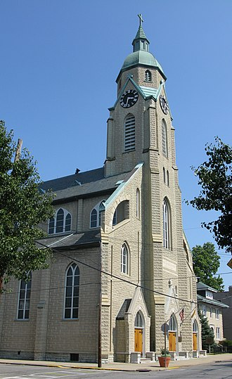 Bellevue, Kentucky - Sacred Heart Church, built in 1892, has long been one of Bellevue's tallest structures. The church is pictured in the city's official logo.