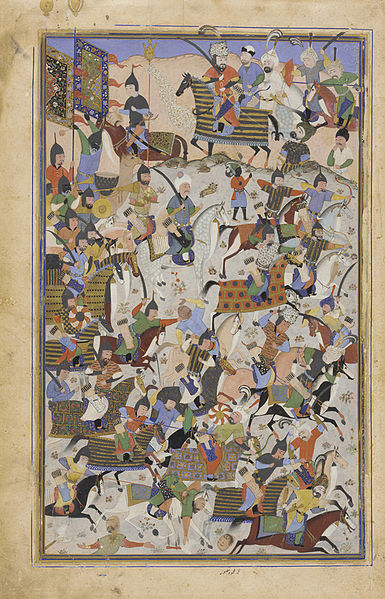 File:Safavid Dynasty, Battle Scene, by Mahmud Musawwir, 1525-1550 AD (2).jpg
