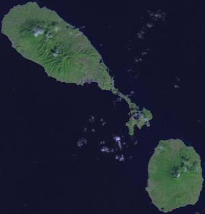 Outline of Saint Kitts and Nevis - An enlargeable satellite image of Saint Kitts and Nevis