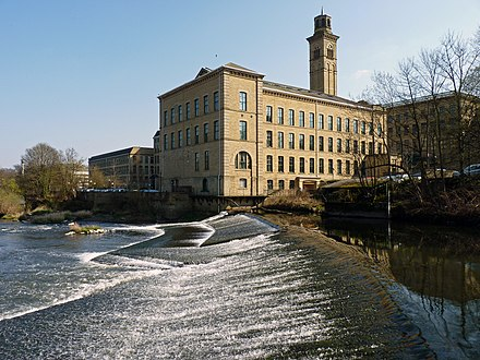 Salts Mill in Saltaire, West Yorkshire, one of two industrial World Heritage Sites in the North Salts Mill.jpeg