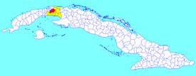 San José municipality (red) within Mayabeque Province (yellow) and Cuba
