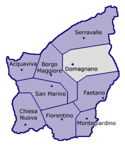 Location of Domagnano within San Marino