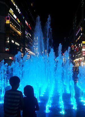 Gunpo - Sanbon New Town's fountain on a summer night