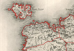 Papa Stour - 1878 Ordnance Survey map of Sandness Parish sowhing Papa Stour as part of the civil parish