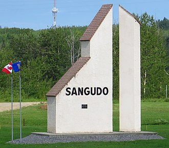 Sangudo - Sundial at the highway entrance of Sangudo.