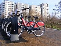 Santander hire bicycles, Olympic Park E20 (24262880060).jpg