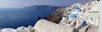 Aegean Sea - A panoramic view of the Santorini caldera, taken from Oia.