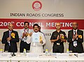 """Sarvey Sathyanarayana releasing the """"Guidelines for Use of Silica-Fume in Rigid Pavement"""", at the inauguration of the 200th Mid-Term Council Meeting of Indian Roads Congress, in New Delhi on August 11, 2013.jpg"""