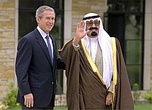 Former American president George W. Bush alongside King Abdullah of Saudi Arabia.